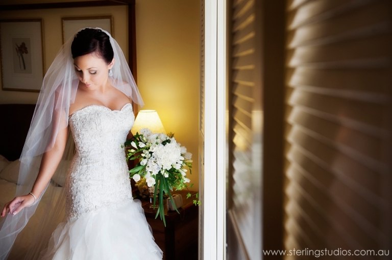Bride getting ready for her sanctuary cove wedding